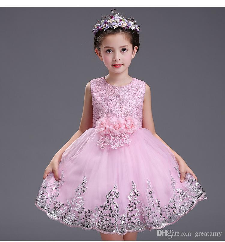 2017 neonate Tulle Pizzo Abiti bambini Ragazze Principessa 3D Floral Dress Girl Luxury Party Dress Neonati Abbigliamento estivo