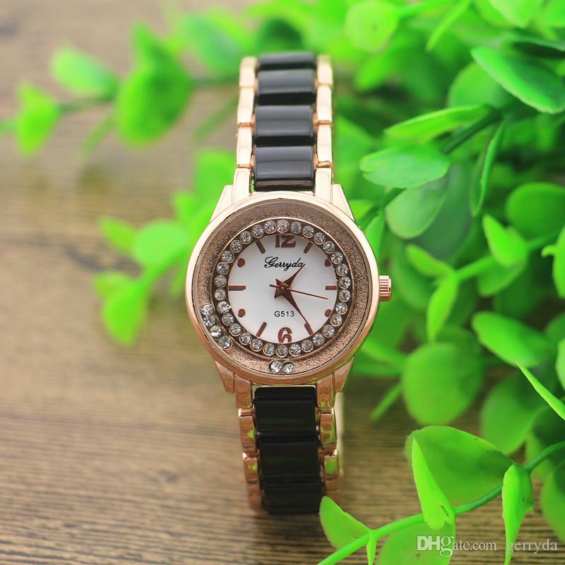 !Black copy ceramic metal band,gold plating round case,crystal deco under glass,gerryda fashion woman lady quartz ceramic watch