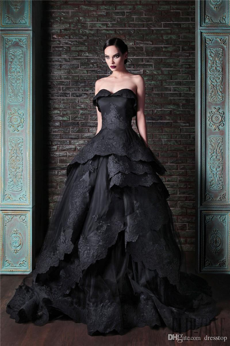 33d4ea7c604 Discount 2016 Rami Kadi Black Wedding Dresses Strapless Neck A Line Lace  Appliqued Bridal Gowns Sweep Train Tulle Tiered Wedding Dress Alternative  Wedding ...