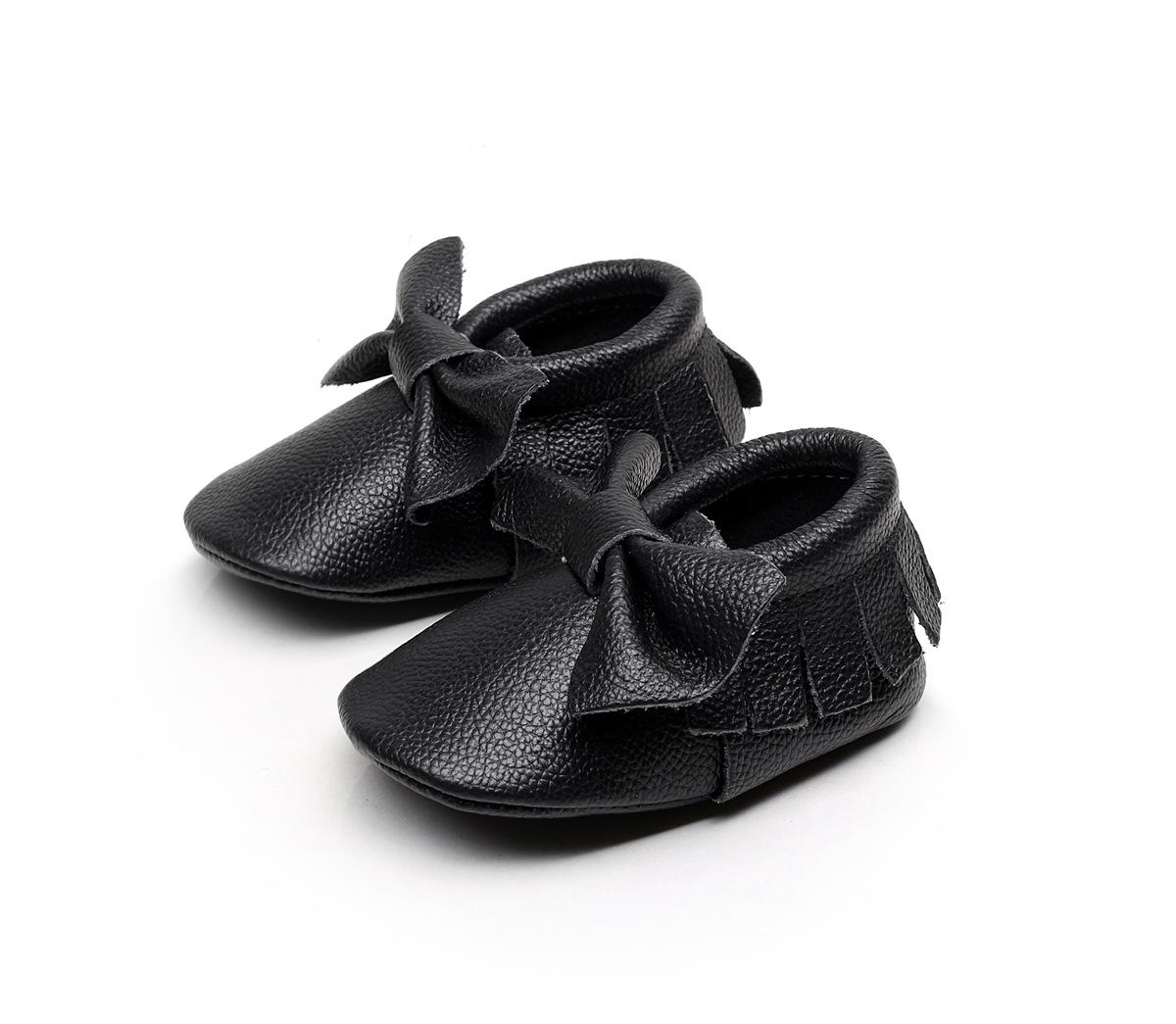 Zapatos de bebé de calidad superior de cuero genuino Slip-on Prewalkers Bow borlas mocasines bebés niño pequeño primeros caminantes 2016 European Autumn Spring