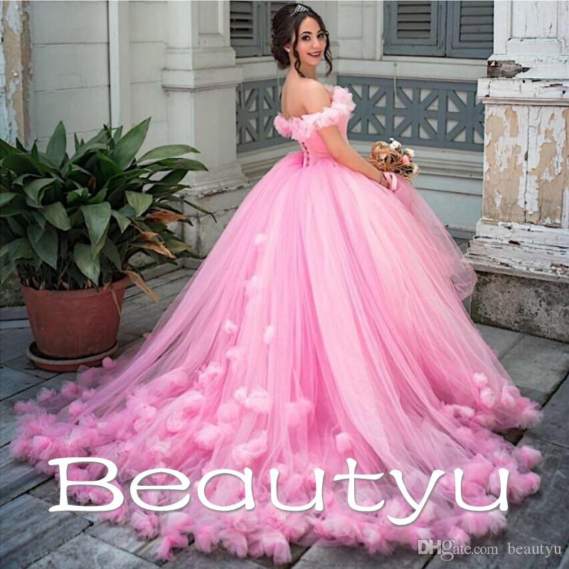 Arabic Pink Princess Ball Gown Wedding Dresses Hand Made 3d Floral ...