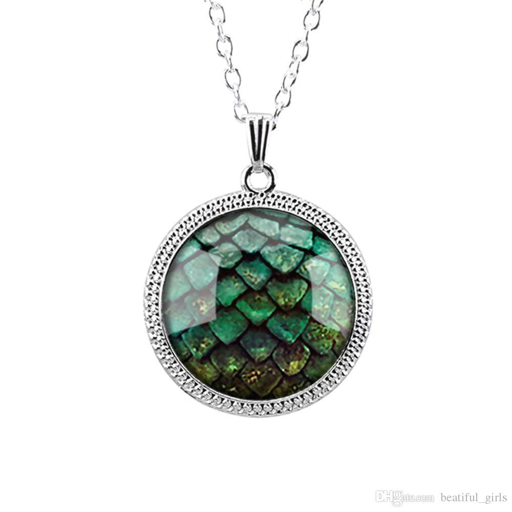 / Jeu de trônes vert dragon oeuf verre cabochon dôme pendentif collier