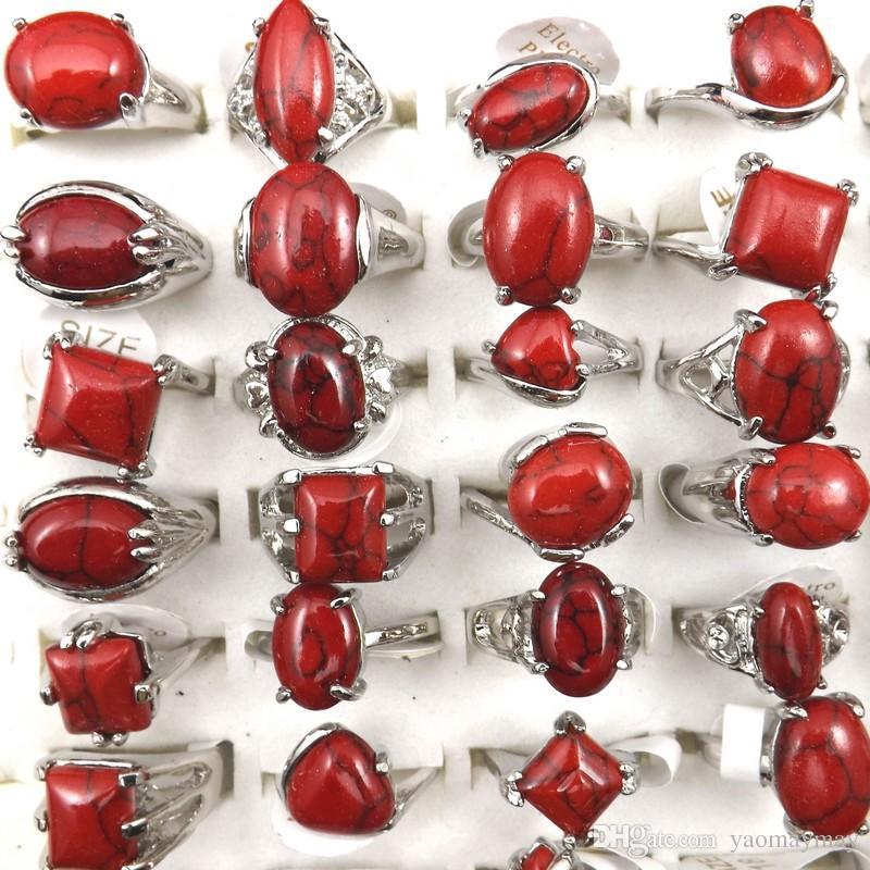 Anéis De Turquesa Vermelho Tamanho Misto Para As Mulheres Da Moda Jóias Atacado