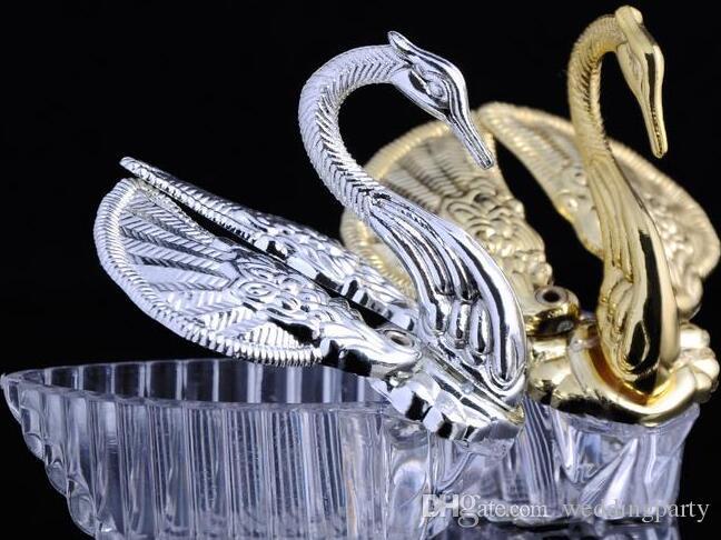 Europäische Stile Acryl Silber Schwan-Bonbon Hochzeit Geschenk Jewely Schachtel Süßigkeiten Geschenkbox Hochzeit Bevorzugungen Holders