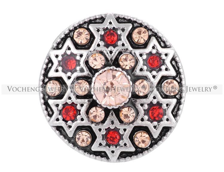 VOCHENG NOOSA Chapado en metal con incrustaciones de cristal Hexagram es 18mm botón joyería Vn-1305