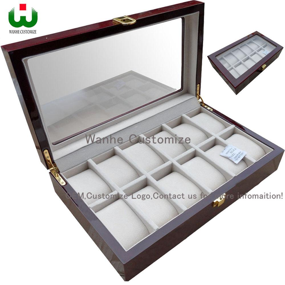 Usine Vente 12 Grilles Rectangle 33 * 20 * 8.5 cm Haute Qualité Qualité Montre Boîtes De RangementCases Windows montre boîte de montre