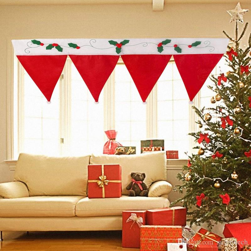 Christmas Decorations For Home Windows: Door Window Curtain Christmas Decorative Curtain Home