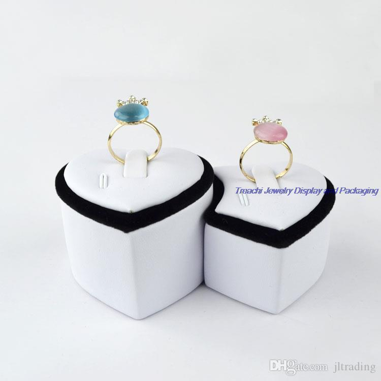 Supper Heart-shaped White PU Black Velvet Jewelry Lovers' Ring Tower Duo-Ring Holder Stand For Jewelry Display Show Case