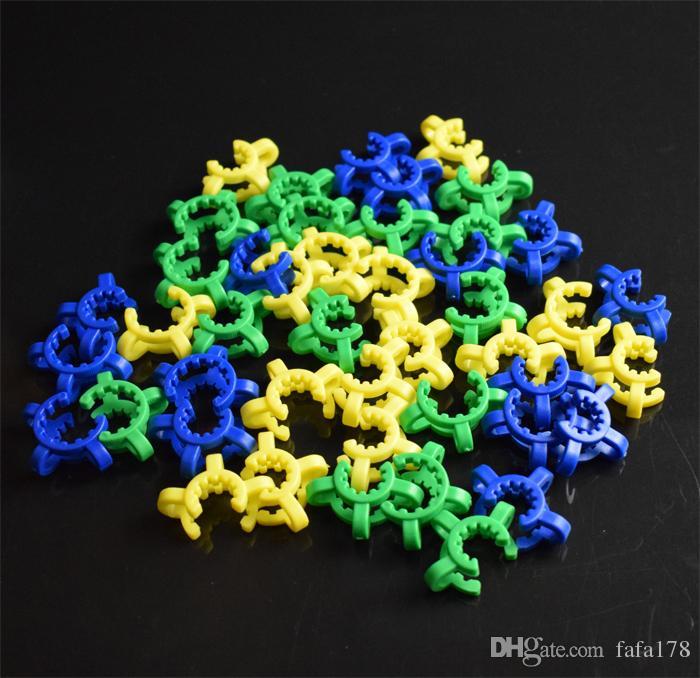 Agrafe de Keck en plastique de joint de 10/14 / 19mm avec l'agrafe de pince de laboratoire / de laboratoire de Keck en plastique de couleur jaune pour le bang en verre