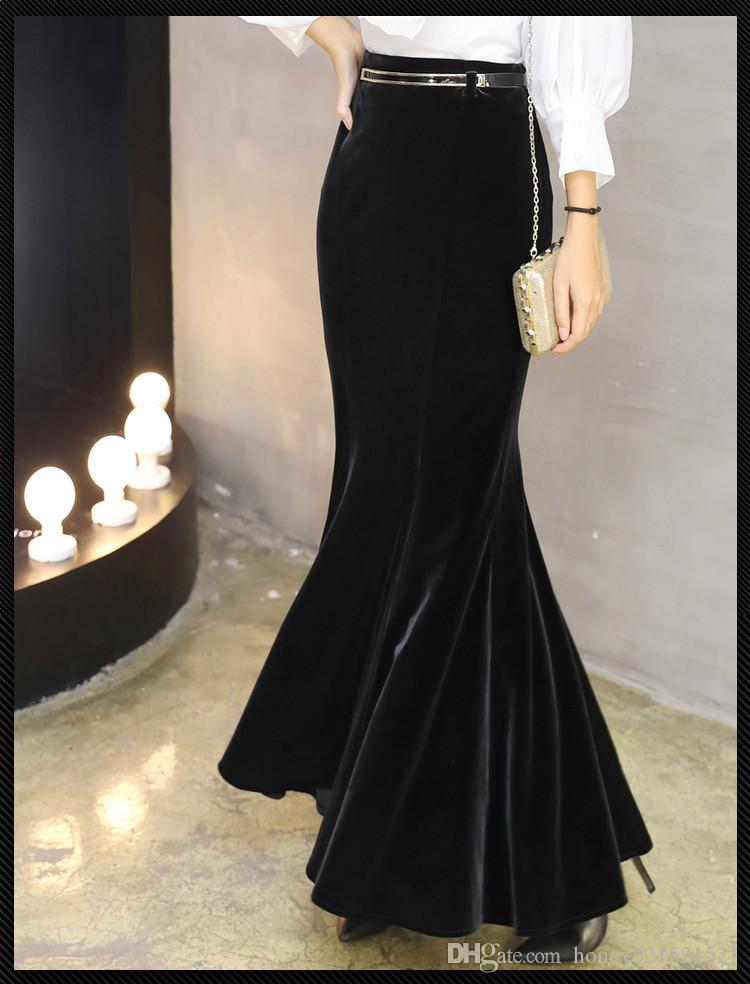 565a487d8ab Women s party autumn new high waist bodycon sexy velvet mermaid maxi long  skirt plus size XSSMLXLXXL3XL