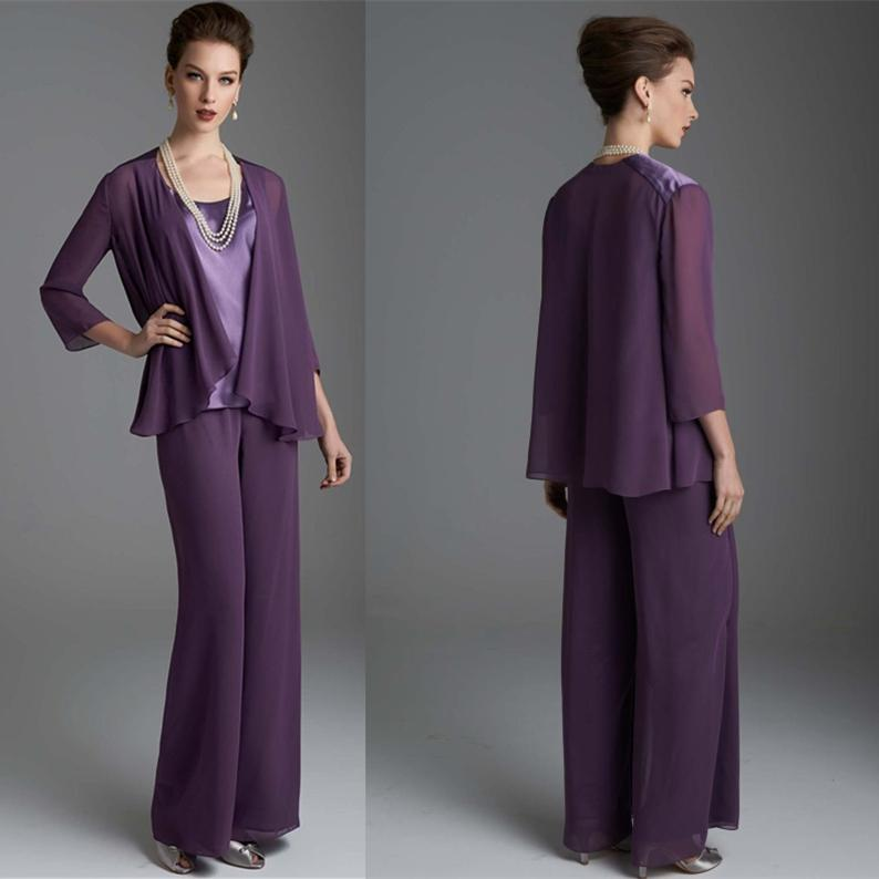 Stunning Purple Women Lady Formal Evening Mother Bride Pant Suits Three Pieces Of The Groom Pants For Wedding Party Outfits
