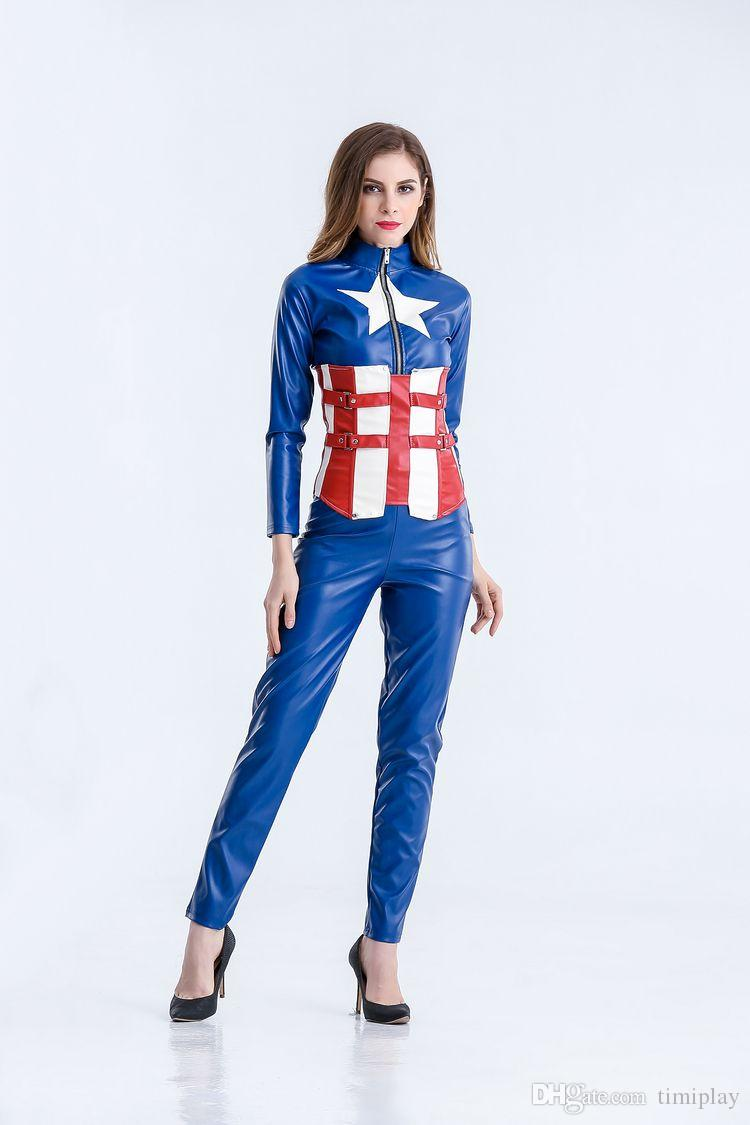 Halloween costume Blue female captain America the avengers alliance Cosplay role play female warrior suit club bar pole dancing performance