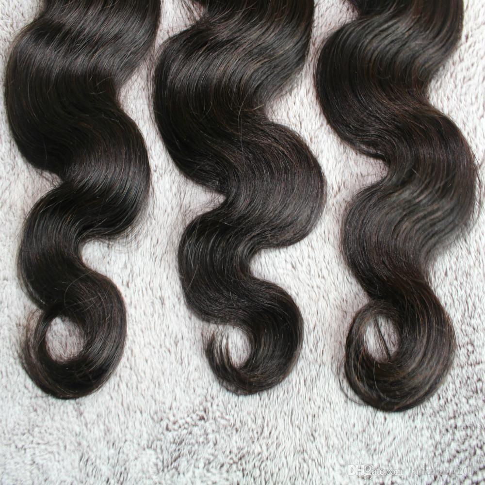 ボディーウェーブ8-30インチ3または4個/ロットブラジル人間の髪の毛織り天然カラーマレーシアインドのペルーの人間の髪の毛の束の伸び