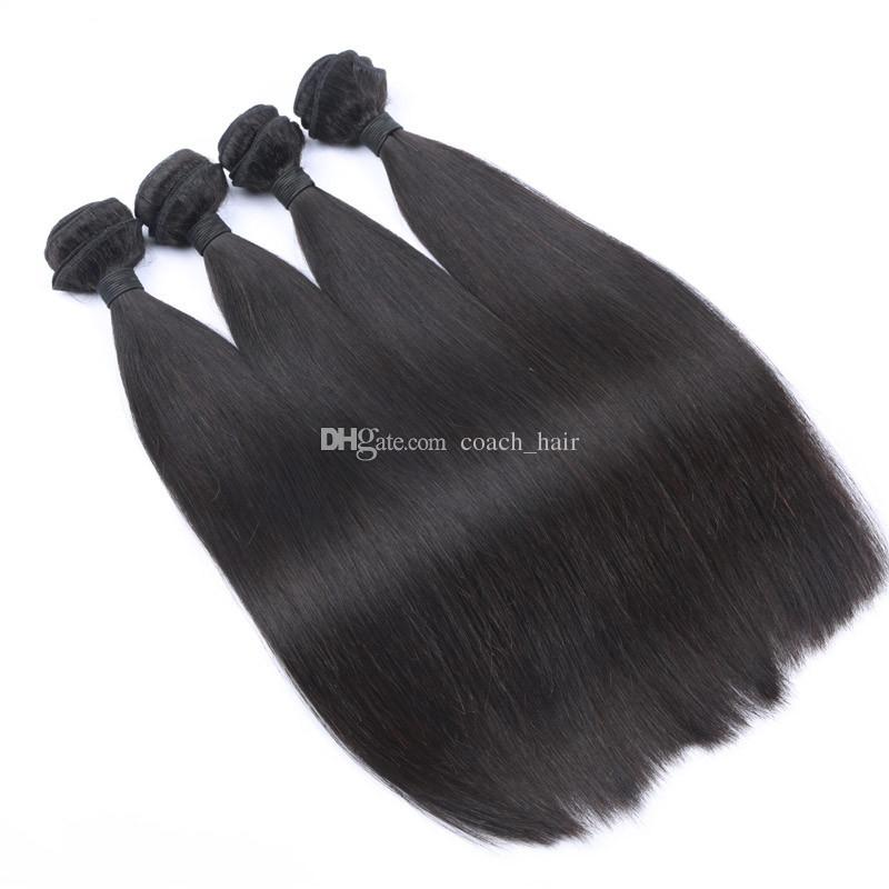 8A Cheap 4 Bundles Straight Hair With Closure Brazilian Human Hair Weaves With Top Closure Brazilian Straight Hair Wefts With Closure