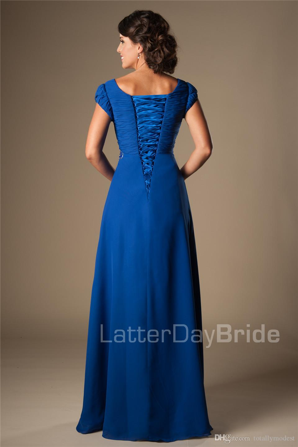 Long Coral Beaded Chiffon Modest Prom Dresses With Cap Sleeves A-line Floor Length Party Dresses Ruched Girls Formal Evening Wear Hot