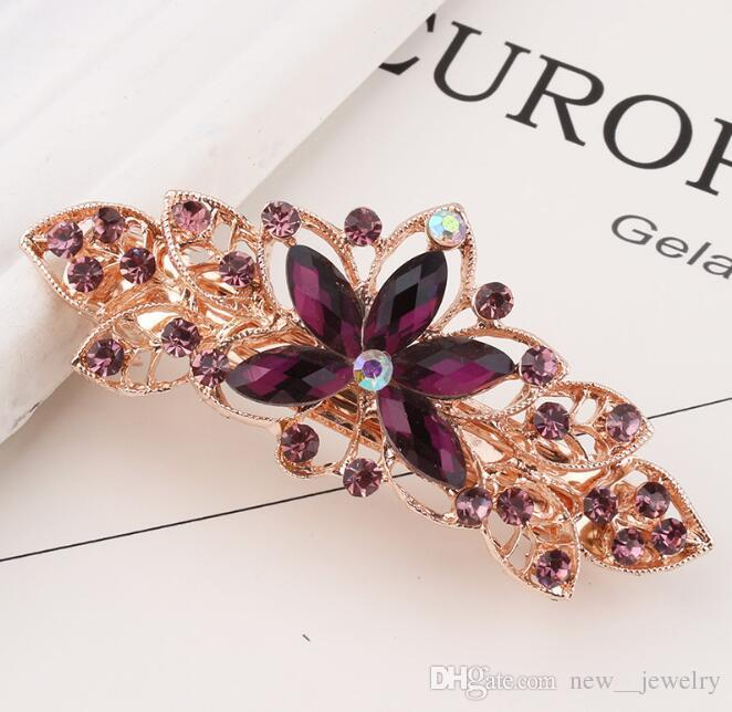 Rose Golden Plated Crystal Flower Hairclip Bridal Wedding Hair Clips Rhinestone Hairclip Barrettes Women Hair Jewelry