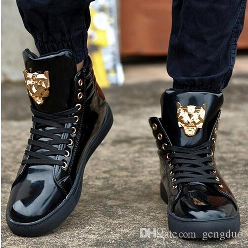 New Fashion High Top Sports Shoe For Men Pu Leather Lace Up Red