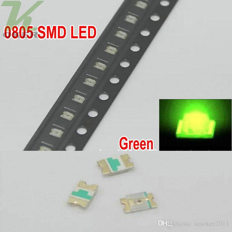 5valuesx= SMD 0805 화이트 레드 블루 그린 노란색 LED 램프 다이오드 울트라 밝은