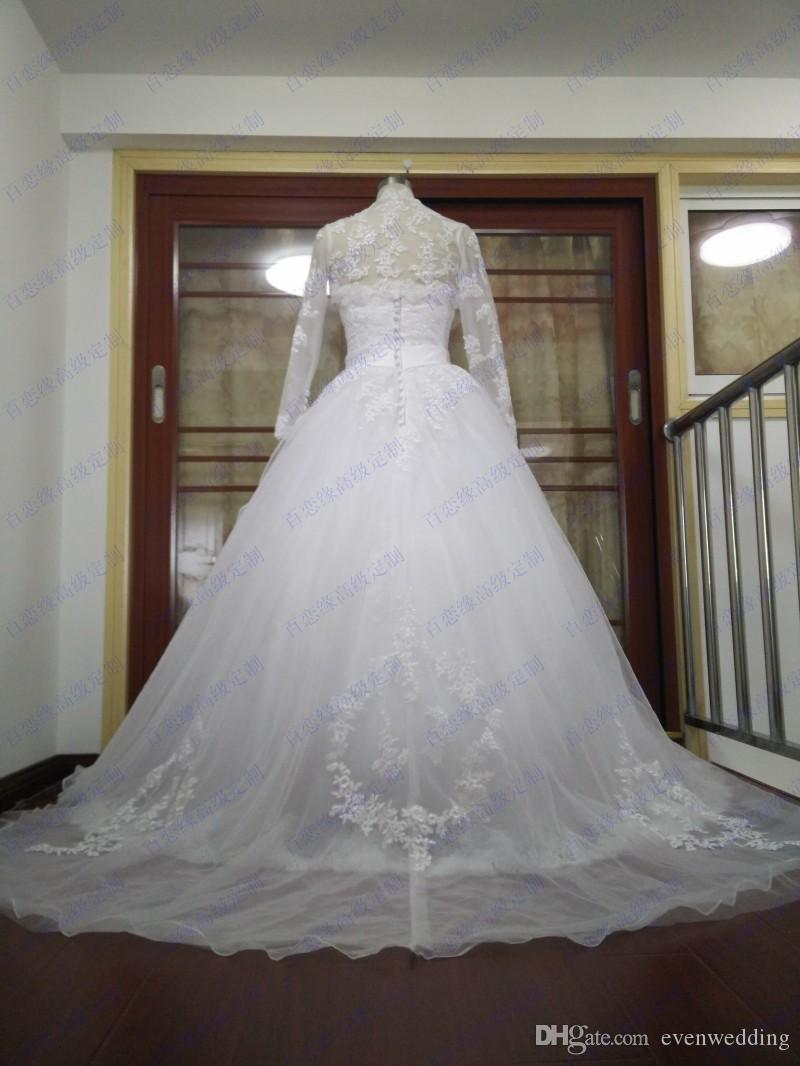 Romantic Tulle With Lace Appliques Ball Gown Wedding Dress With Jacket 2017 Court Train Crystal Wedding Gown