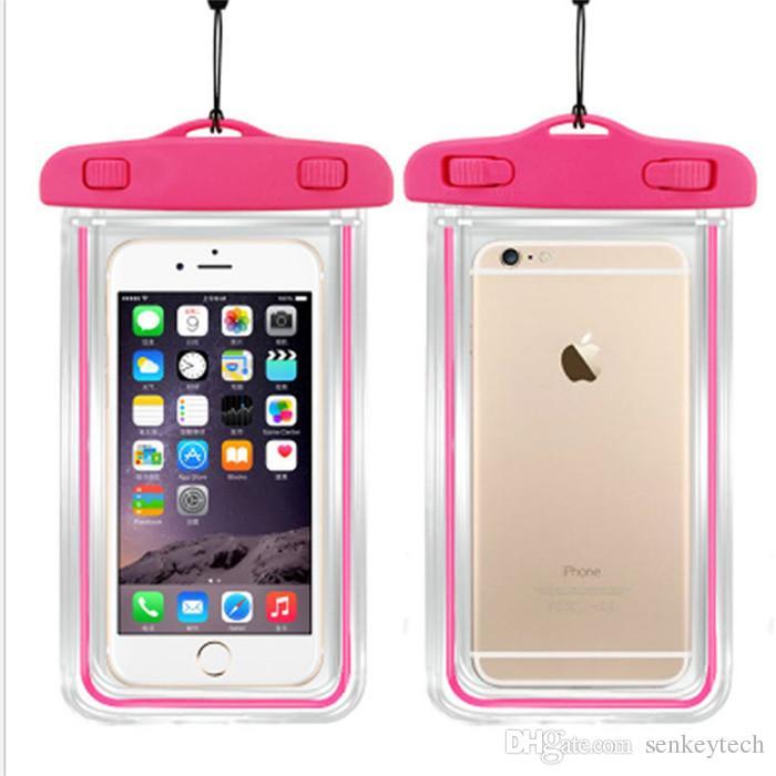 10 stücke klar wasserdichte tasche dry case abdeckung für kamera handy leuchtende wasserdichte taschen für iphone 4 4 s 5 5 s 6 6 s plus