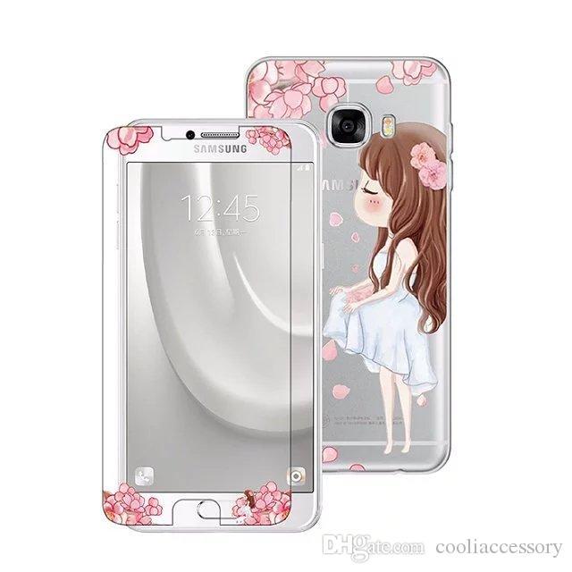 Protector de pantalla de cristal templado para niña de flores TPU Estuche suave para Iphone 6 6S Plus SE Samsung Galaxy C7 C5 A5 NOTA3 Paquete de protector de película
