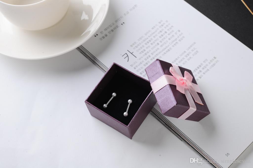[심플 세븐] 솔리드 퍼플 팔찌 상자 / 축제 목걸이 케이스 / 펜던트 디스플레이 / 사랑스러운 귀걸이 상자 / Jewlery 포장 핑크 Bowknot 소