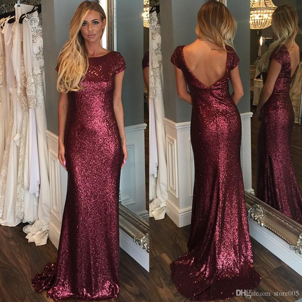 Sexy red burgundy long bridesmaid dresses backless scoop women see larger image ombrellifo Choice Image