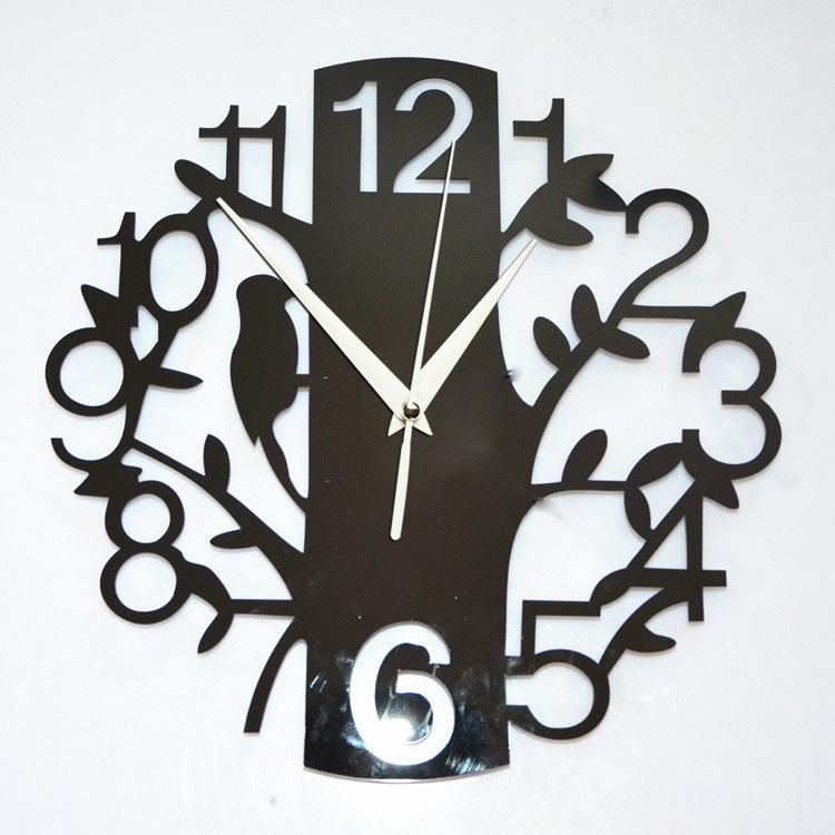 Home Decoration 3d Tree Mirror Wall Clock Safe Modern Design Diy Digital Watch Sticker Clocks Tv Bird