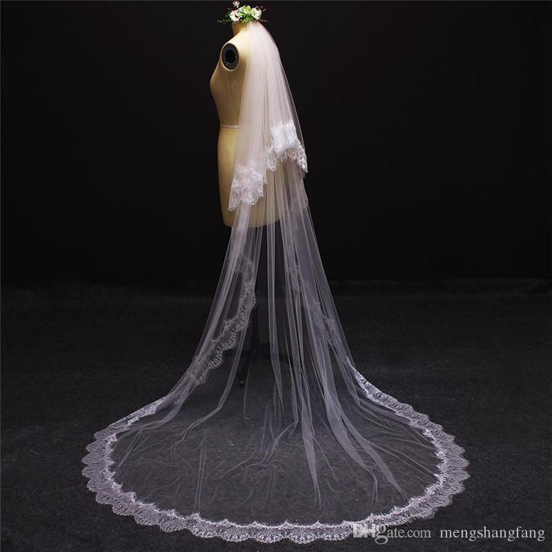 Neue echte Bilder 2 Schichten Wimpern Spitze Rand Bridal Schleier mit Kamm Elegante weiße Elfenbeinkapelle Hochzeit Schleier Zubehör NV7091