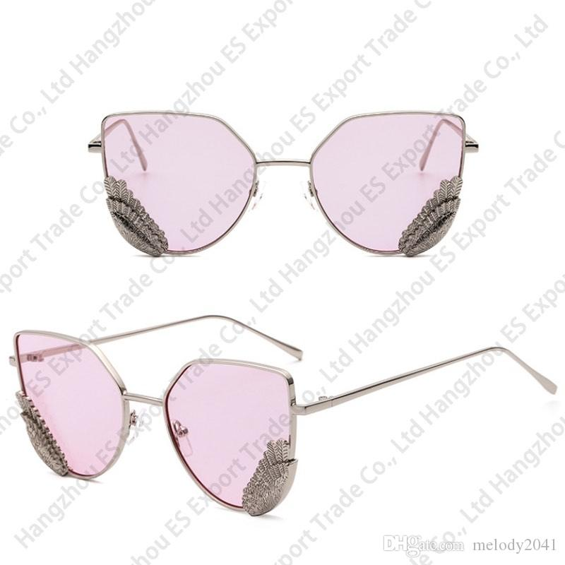 New Metal Feather Sunglasses Metal Plume Frame Fashion Design Sun Glasses And Eyewear Frame With Clear Lenses Wholesale