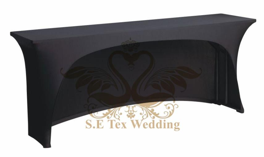 Uma tampa de tabela aberta lateral do Spandex de Lycra \ pano de tabela para o casamento