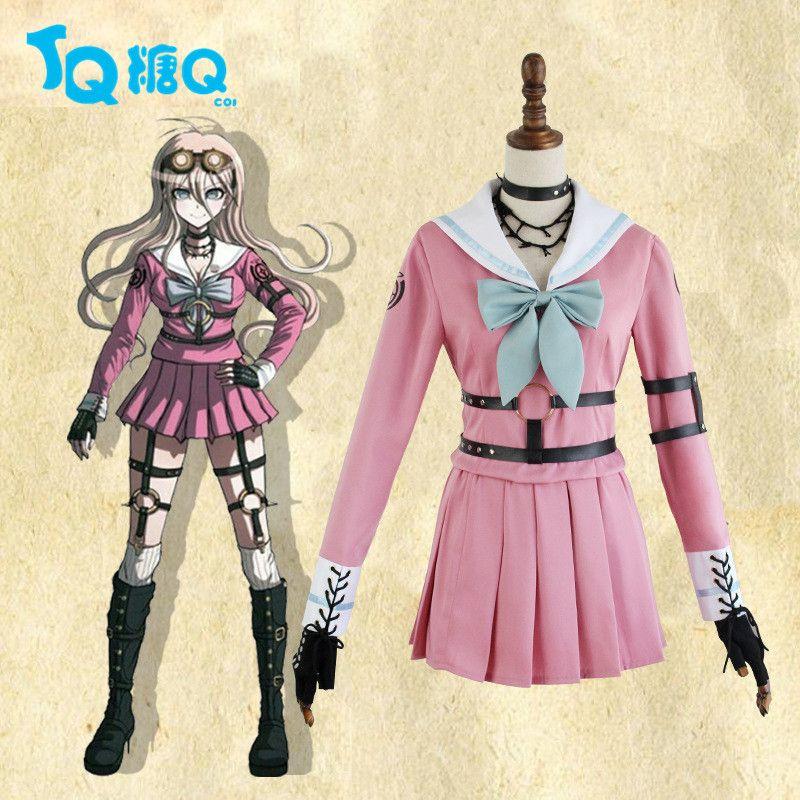 21a7992eec Cosplay Danganronpa V3: Killing Harmony Iruma miu Costume Full Set Pink  Dress Cosplay Carnival Halloween Women Costumes