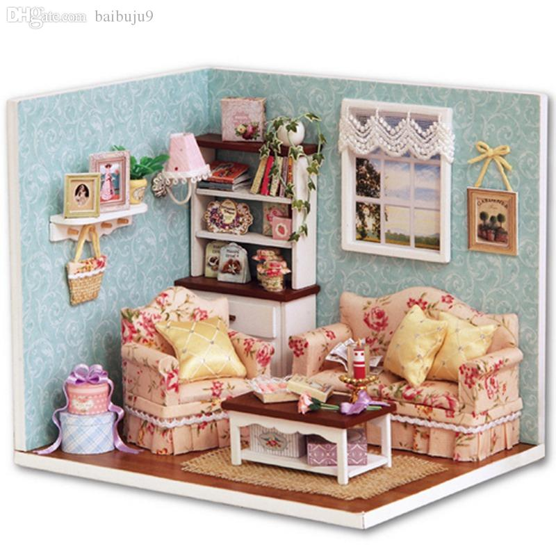 miniatures dollhouse furniture. wholesale handcraft diy wooden miniature dollhouse furniture kit living room model with cover cute handmake gift english instruction doll house miniatures i