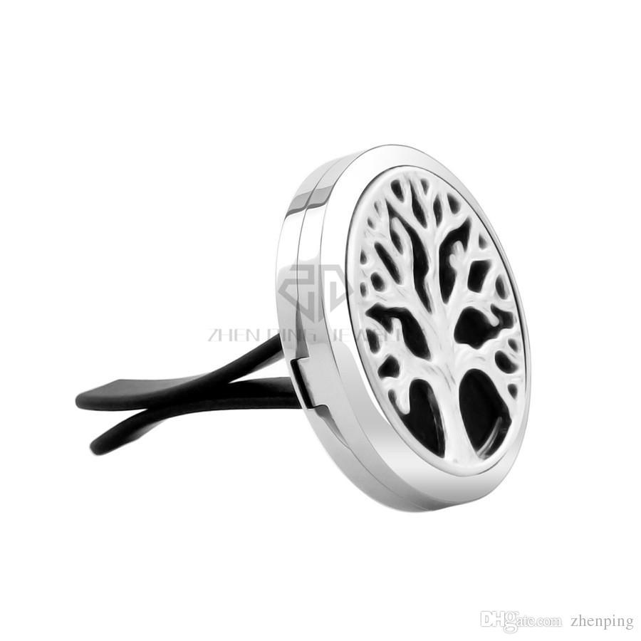 Árvore de fundição de prata 30 mm Magnetic car difusor aromaterapia medalhão livre almofadas óleo essencial 316 aço inoxidável carro difusor medalhões