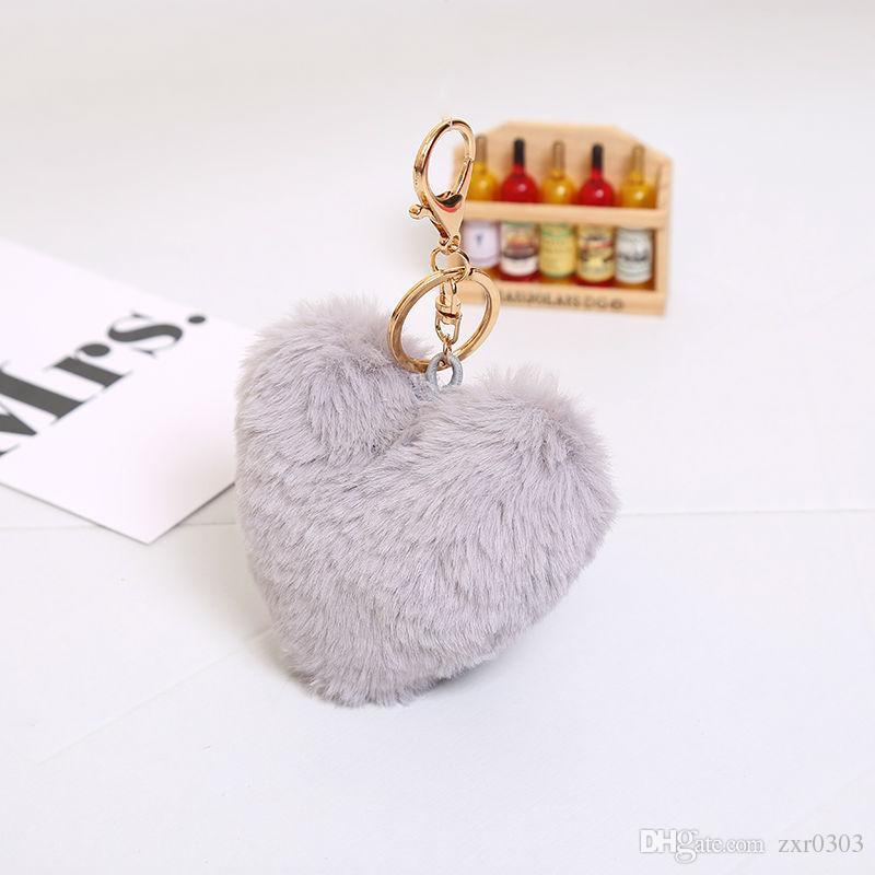 Роскошный Пушистый Мех Брелок Мягкое Сердце Прекрасный Форма Сердца Помпоны Натуральная Мех Кролика Мяч Сумка Автомобиля Брелок Многоцветный