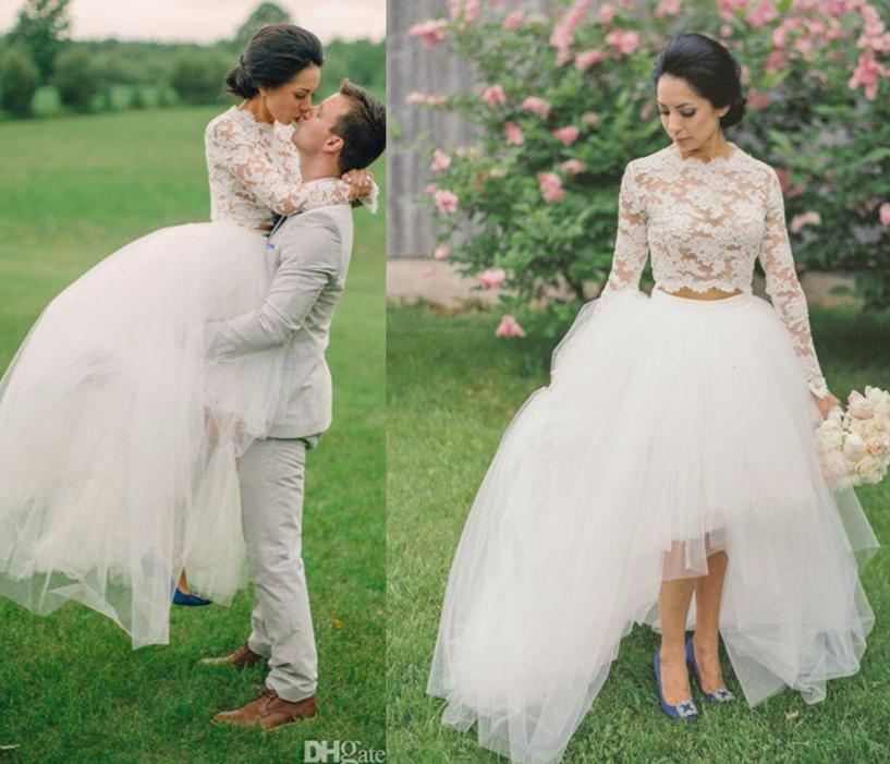 Hi Lo Wedding Gowns: Discount 2016 High Low Hi Lo Lace Wedding Dresses Lace Top