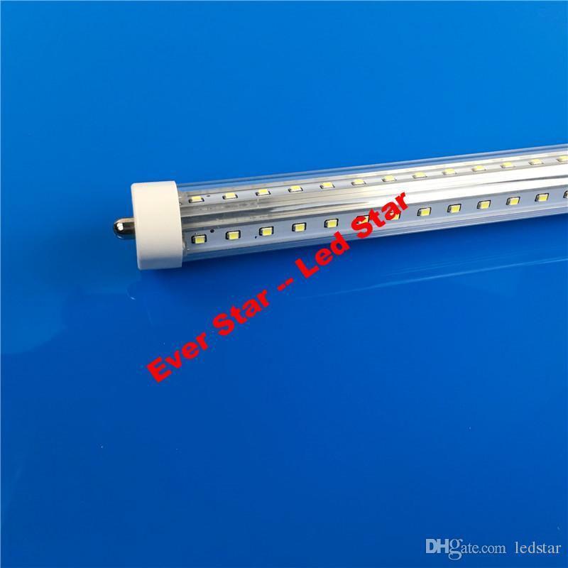 V Shaped 8ft R17D Led Light Tubes 65W T8 8ft FA8 Single Pin Led Tubes Flat Double Rows 72W Led Fluorescent Lights AC 85-265V + Stock In US