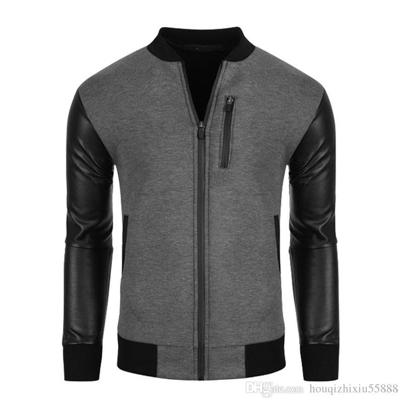 19b7d78f4bc72 Brand Bomber Jacket Male Unique Fashion Leather Sleeve Splice Zipper Baseball  Jacket Varsity Jacket Blouson Veste Homme Mens Leather Bomber Jacket Mens  ...