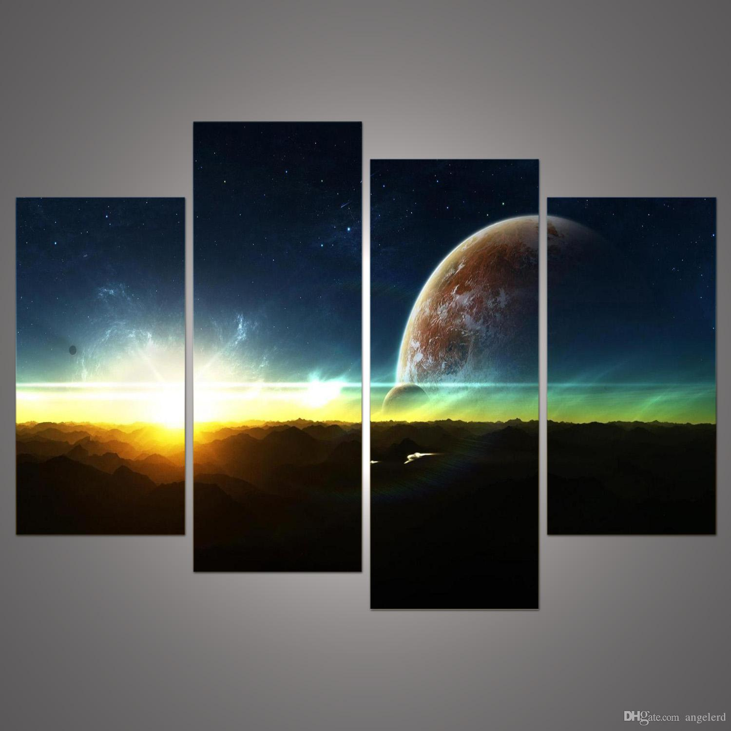 Home decor paintings - Best 4 Panel Modern Sunrise Space Universe Picture Painting Cuadros Wall Decor Canvas Art Home Decor For Living Room H 052 Under 9 08 Dhgate Com