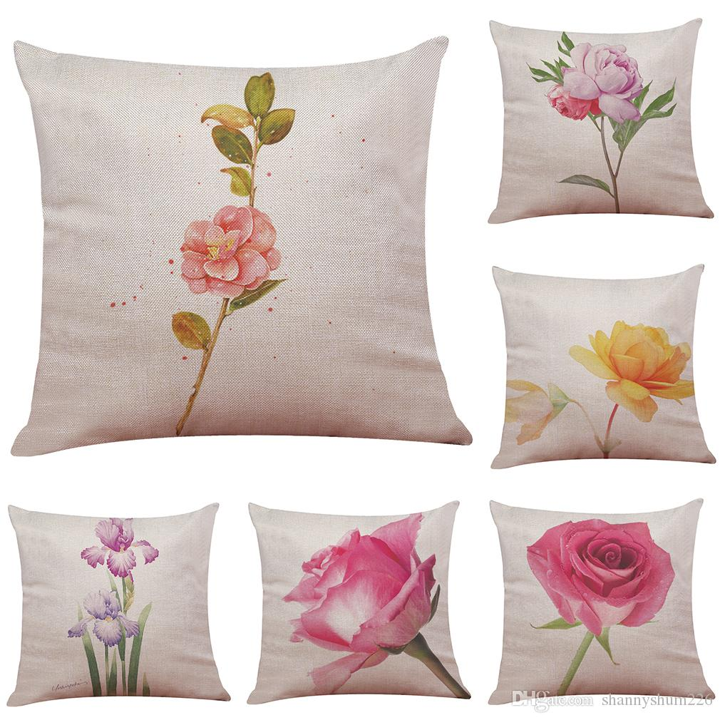 Hand Painted Flowers Pattern Linen Cushion Cover Home Office Sofa Square  Pillow Case Decorative Cushion Covers Pillowcases Without Insert Seat  Cushions For ...