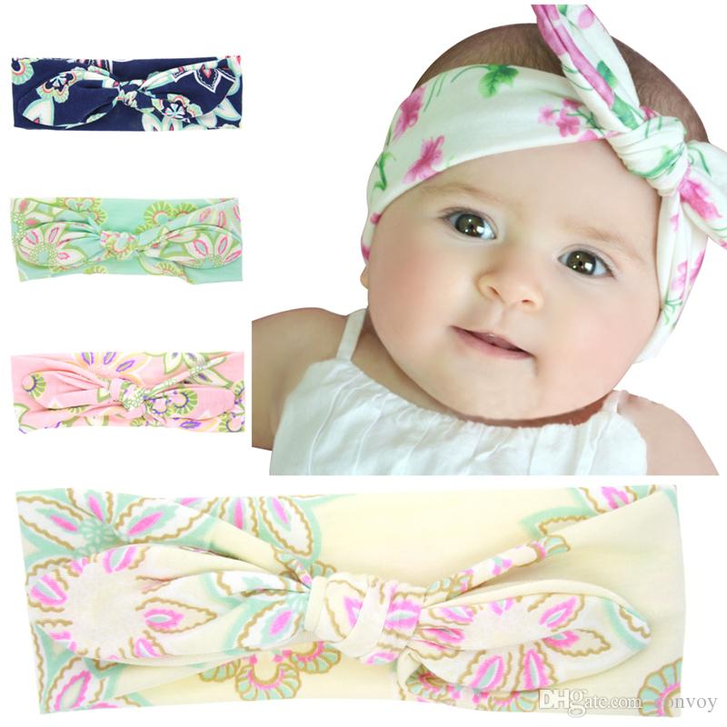 Fashion Baby Bunny Ear Headbands Kids Girls turban Knotted Floral Hairbands  Newborn elastic Cotton Headband Headwear hair accessories KHA15 3e0c7dad666