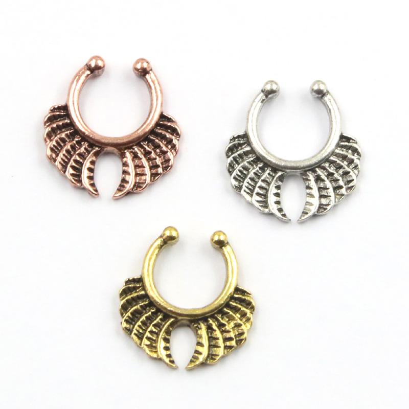 Plated Silver And Rose Gold Indian Nose Ring Alloy Clip on Hoop ...