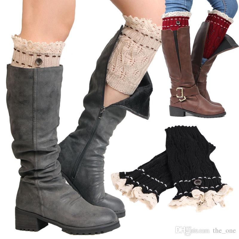 f7521a6c668 2019 Women Crochet Lace Boot Cuffs Handmade Knit Leg Warmer Ballet Lace Boot  Cuff Leg Warmers Christmas Boot Socks Covers From The one