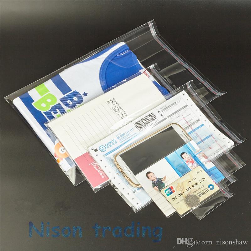 16 * 21 cm / sacchetto del commercio all'ingrosso di OPP autoadesiva trasparente, riapribile auto stampa sacchetto di imballaggi chiusi gioielli appiccicoso
