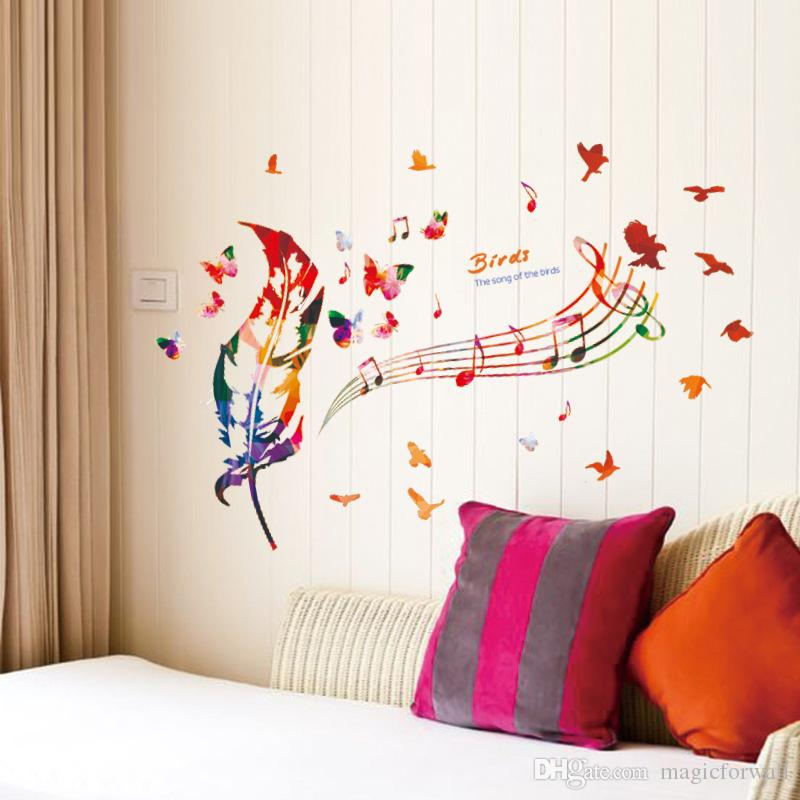 Music Note Colorful Feather Wall Decals Butterfly Pattern The song of Birds Quote Wall Sticker DIY Home Decoration Wallpaper Art Decor