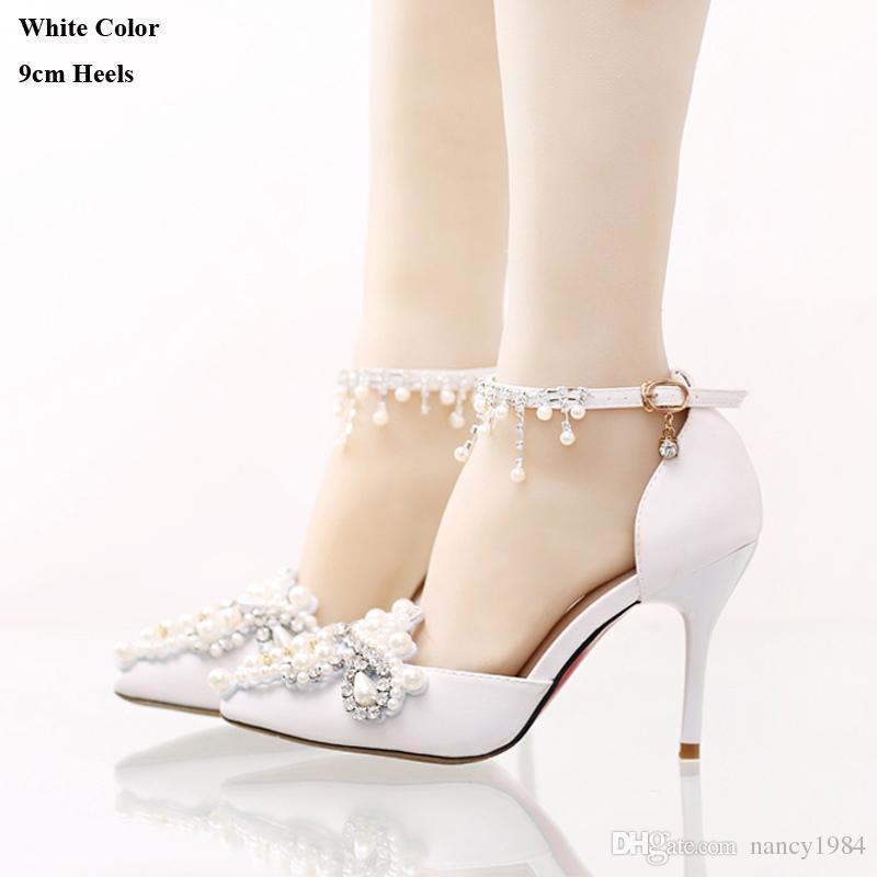 Main Chaussures De Mariée En Satin De Mariée Avec Strass Boucle Bretelles Robe Formelle Shose Bout Pointu De Demoiselle D'honneur Chaussures Parti Pompes