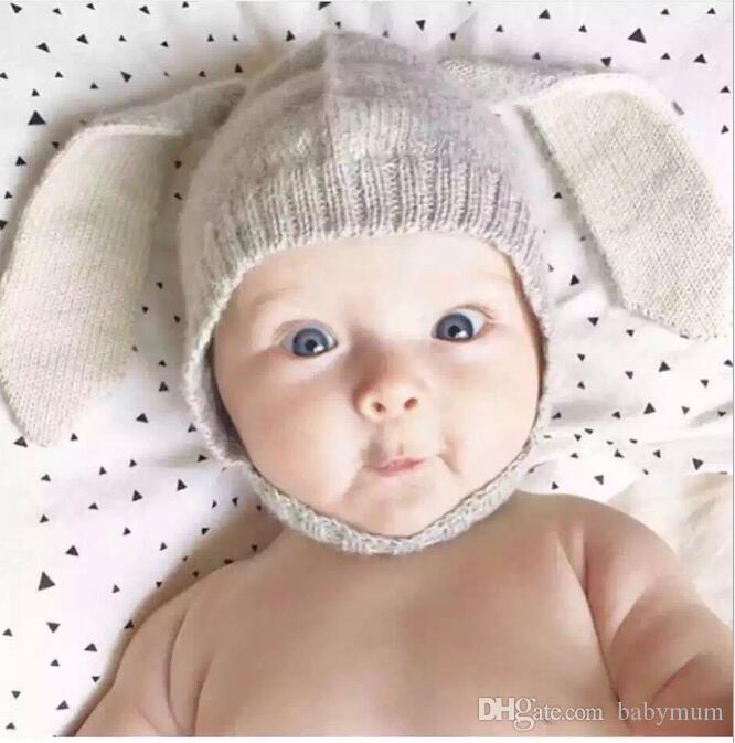 Winter warm Baby Rabbit Ears Knitted Hat Infant bunny Caps For Children 0-2T Girl Boy beanie hats Photography Props