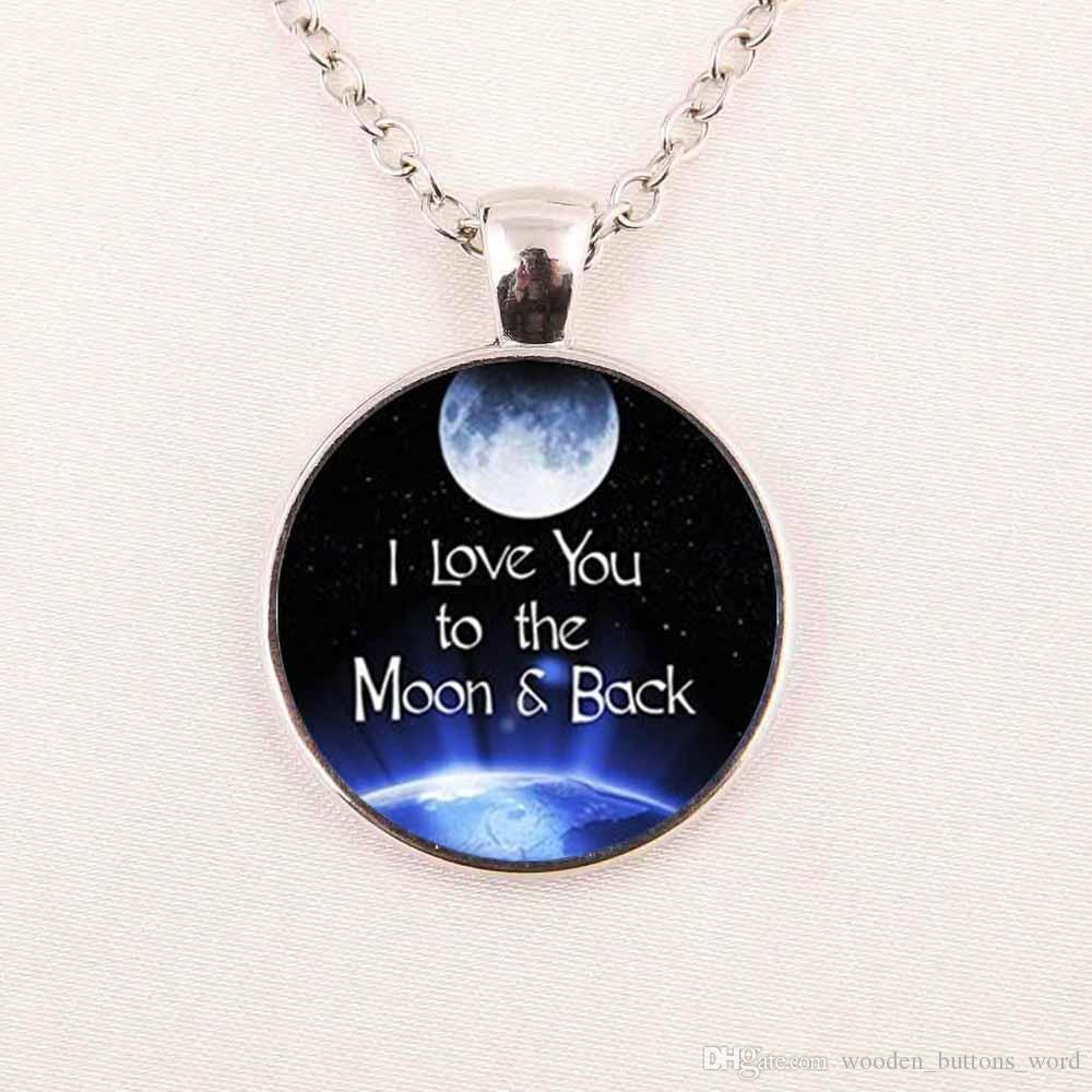 Wholesale wholesale glass dome cabochon 25mm i love you to the wholesale wholesale glass dome cabochon 25mm i love you to the moon and back necklace art glass pendant silver chain necklace blue pendant necklace from mozeypictures Image collections