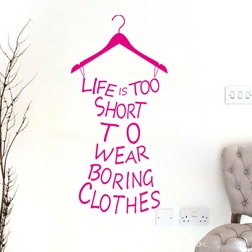 """Wholelsale Fashion New English Life Is Short Wall Stickers Dressing Room Bedroom Background PVC Removable Waterproof Wallpaper Custom 11x23"""""""