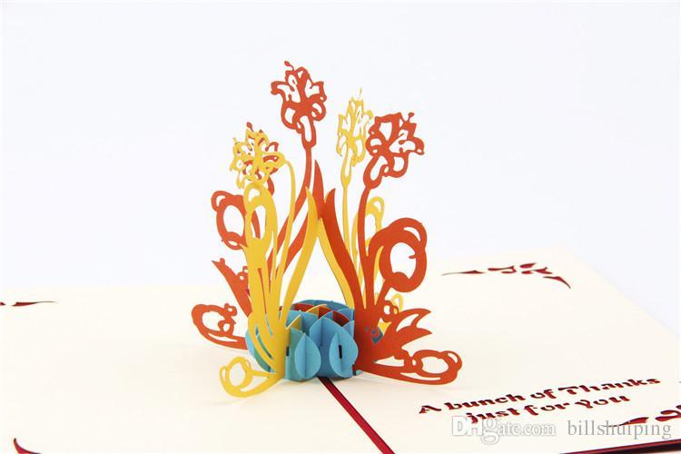 Yaratıcı Nergis 3D Pop UP Tebrik Kartları Moda Kağıt DIY Kartpostal Sanat Teşekkür Kart Ücretsiz Kargo